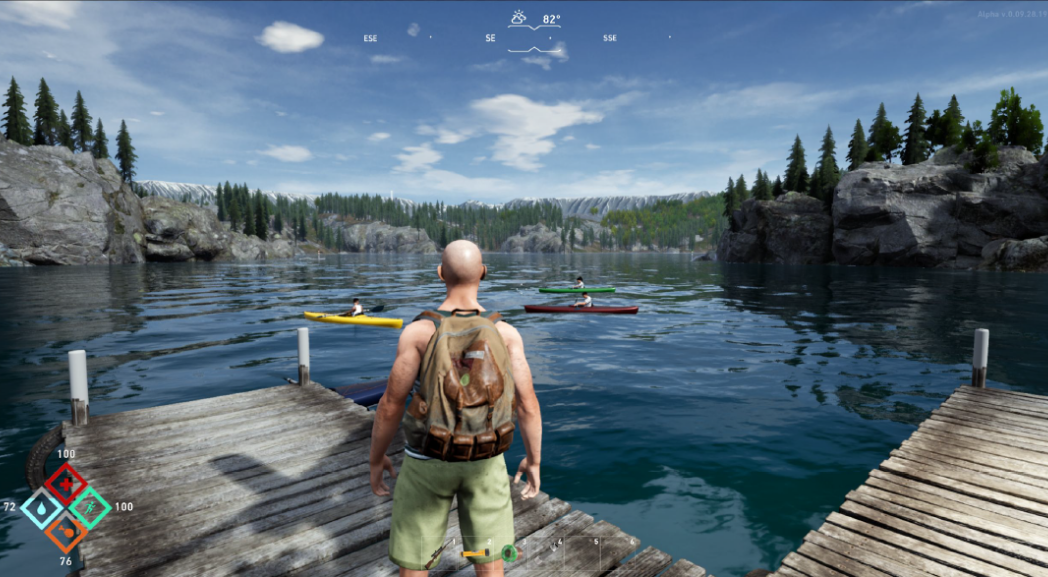 Player on lake dock image